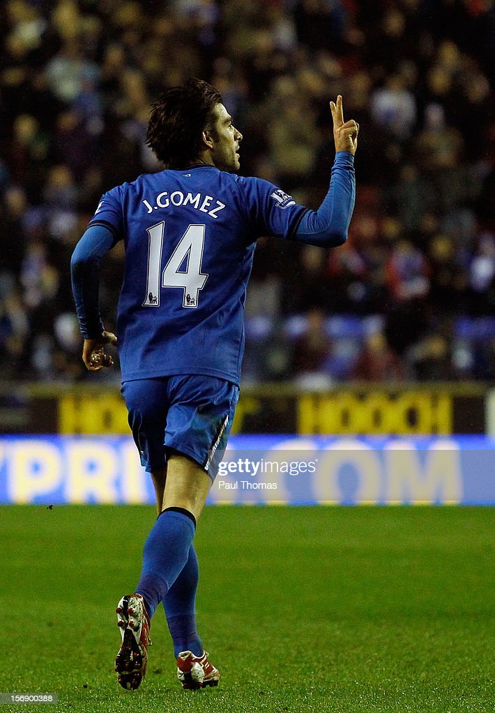 Jordi Gomez of Wigan celebrates after scoring his first goal during the Barclays Premier League match between Wigan Athletic and Reading at the DW Stadium on November 24, 2012 in Wigan, England.