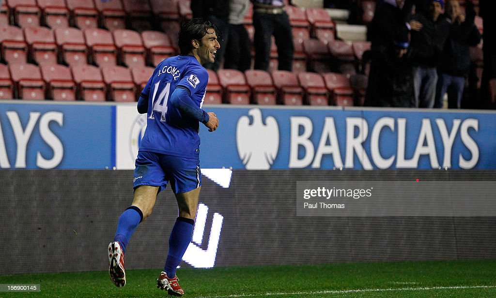 Jordi Gomez of Wigan celebrates after scoring his third goal during the Barclays Premier League match between Wigan Athletic and Reading at the DW Stadium on November 24, 2012 in Wigan, England.