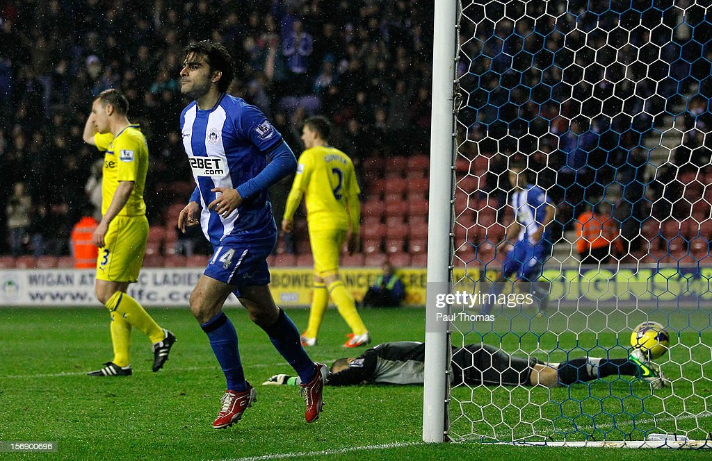 <a gi-track='captionPersonalityLinkClicked' href=/galleries/search?phrase=Jordi+Gomez&family=editorial&specificpeople=1323748 ng-click='$event.stopPropagation()'>Jordi Gomez</a> of Wigan reacts after scoring his first goal during the Barclays Premier League match between Wigan Athletic and Reading at the DW Stadium on November 24, 2012 in Wigan, England.
