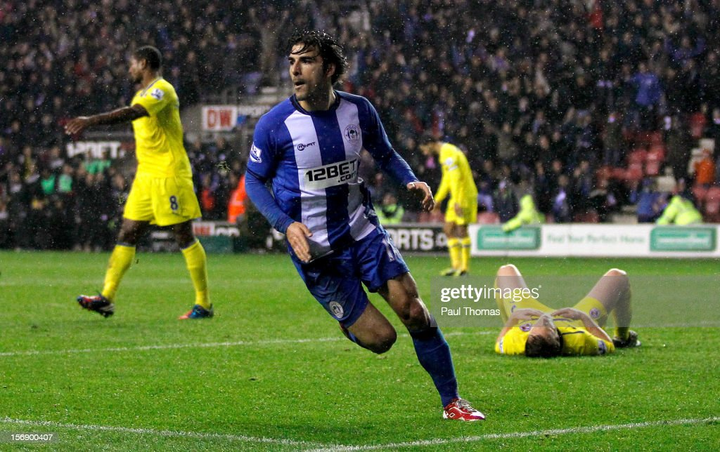 Jordi Gomez of Wigan reacts after scoring his third goal during the Barclays Premier League match between Wigan Athletic and Reading at the DW Stadium on November 24, 2012 in Wigan, England.