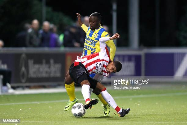 Jordi Malela Ndanba of RKC Waalwijk Laros Duarte of PSV U23 during the Dutch Jupiler League match between PSV U23 v RKC Waalwijk at the de Herdgang...