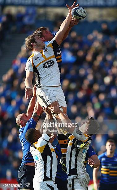Jordi Murphy of Leinster winns the ball during the European Rugby Champions Cup match between Leinster Rugby and Wasps at the RDS Arena on November...
