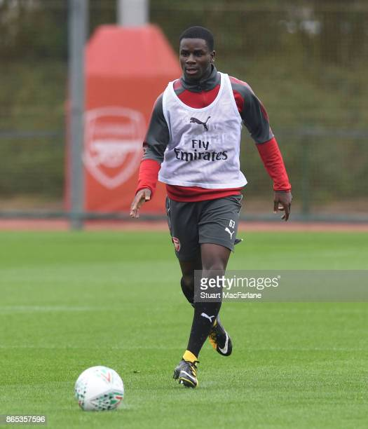 Jordi OseiTutu of Arsenal during a training session at London Colney on October 23 2017 in St Albans England