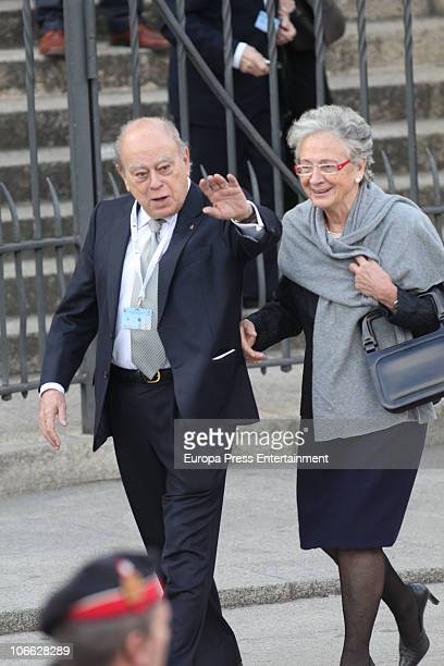 Jordi Pujol and Marta Ferrusola attend the recitation of Angelus by Pope Benedict XVI on the Plaza de la Iglesia after celebrating a solemn mass...