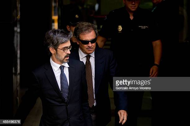 Jordi Pujol Ferrusola son of former Catalan leader Jordi Pujol leaves Spain's National Court accompained by his lawyer Cristobal Martell after...