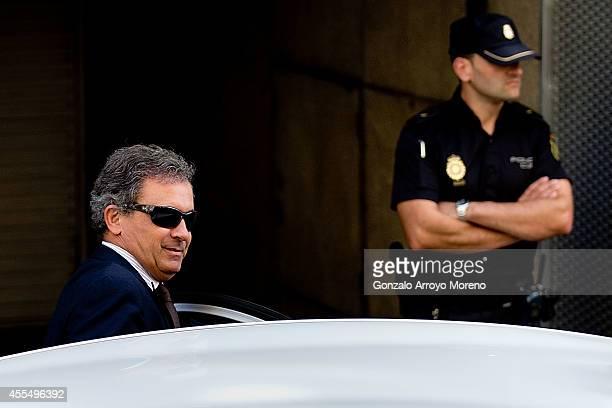 Jordi Pujol Ferrusola son of former Catalan leader Jordi Pujol leaves after appearing before judge Pablo Ruz at the Spain's National Court on...