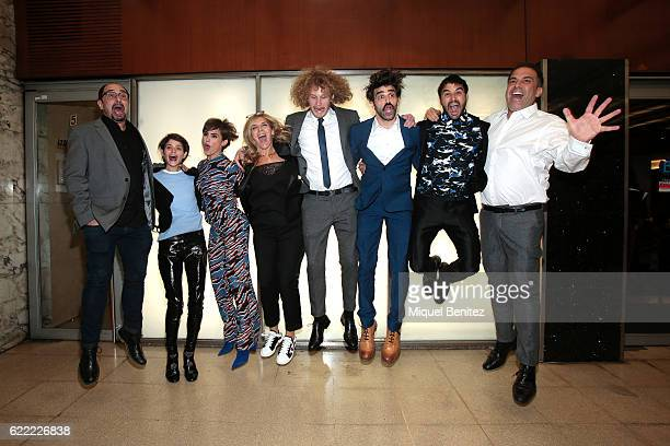 Jordi Sanchez Alba Galocha Veronica Echegui Maria Ripoll James Williams David Verdaguer Alex Garcia and Manel jumping during the 'No Culpes al Karma...
