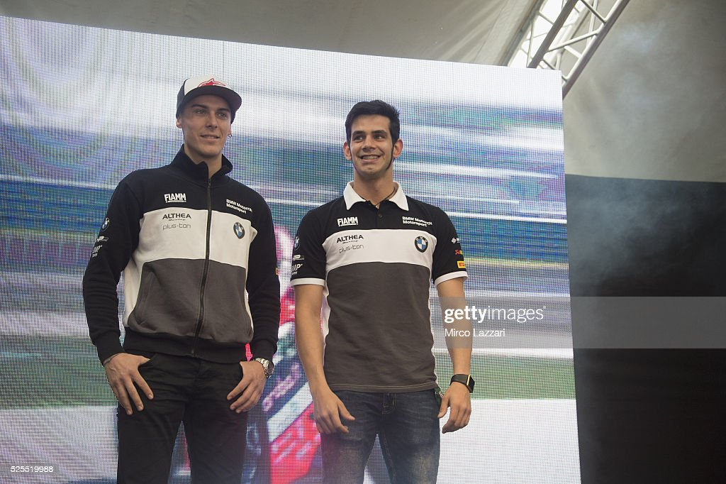 <a gi-track='captionPersonalityLinkClicked' href=/galleries/search?phrase=Jordi+Torres&family=editorial&specificpeople=7852325 ng-click='$event.stopPropagation()'>Jordi Torres</a> of Spain and Althea BMW Racing Team and Markus Reiterberger of Germany and Althea BMW Racing Team (L) smile for fans during the Paddock Show during the World Superbikes - Preview at Enzo & Dino Ferrari Circuit on April 28, 2016 in Imola, Italy.