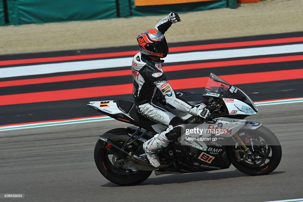 Jordi Torres of Spain and Althea BMW Racing Team grrets the fans at the end of the the Superbike Race 1 during the World Superbikes - Qualifying at Enzo & Dino Ferrari Circuit on April 30, 2016 in Imola, Italy.