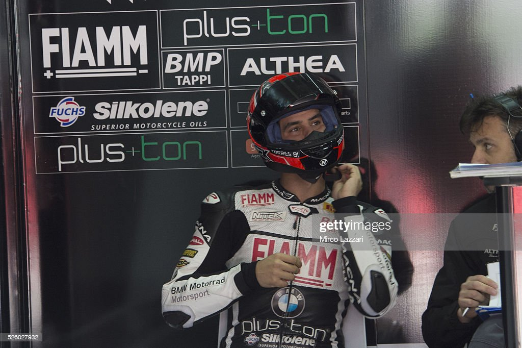 <a gi-track='captionPersonalityLinkClicked' href=/galleries/search?phrase=Jordi+Torres&family=editorial&specificpeople=7852325 ng-click='$event.stopPropagation()'>Jordi Torres</a> of Spain and Althea BMW Racing Team prepares to start in box during the World Superbikes - Practice at Enzo & Dino Ferrari Circuit on April 29, 2016 in Imola, Italy.