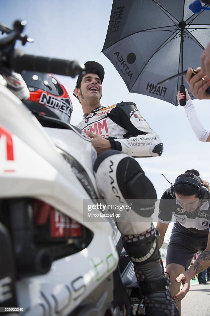 <a gi-track='captionPersonalityLinkClicked' href=/galleries/search?phrase=Jordi+Torres&family=editorial&specificpeople=7852325 ng-click='$event.stopPropagation()'>Jordi Torres</a> of Spain and Althea BMW Racing Team prepares to start on the grid during the Superbike Race 1 during the World Superbikes - Qualifying at Enzo & Dino Ferrari Circuit on April 30, 2016 in Imola, Italy.
