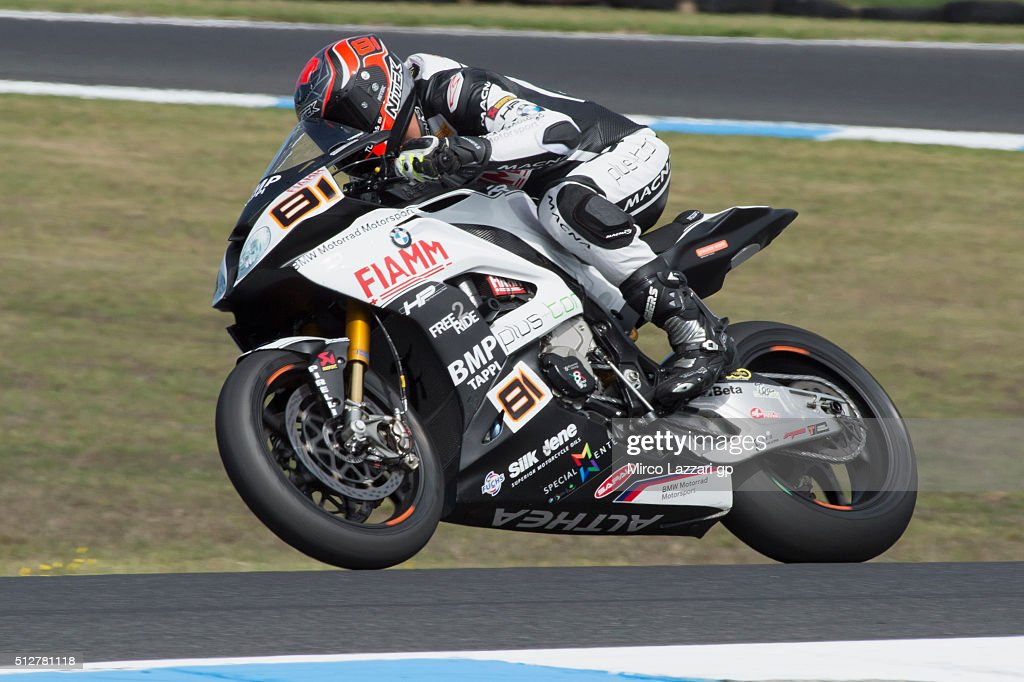 <a gi-track='captionPersonalityLinkClicked' href=/galleries/search?phrase=Jordi+Torres&family=editorial&specificpeople=7852325 ng-click='$event.stopPropagation()'>Jordi Torres</a> of Spain and Althea BMW Racing Teamheads down a straight during the Superbike race2 of round one of the 2016 World Superbike Championship at Phillip Island Grand Prix Circuit on February 28, 2016 in Phillip Island, Australia.