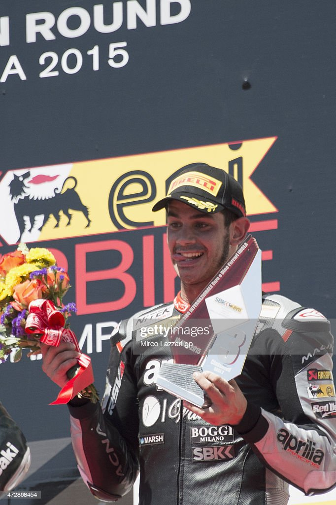 Jordi Torres of Spain and APRILIA RACING TEAM - RED DEVILS celebrates the third place on the podium at the end of the WSBK race 2 during the World Superbikes - Race at Enzo & Dino Ferrari Circuit on May 10, 2015 in Imola, Italy.