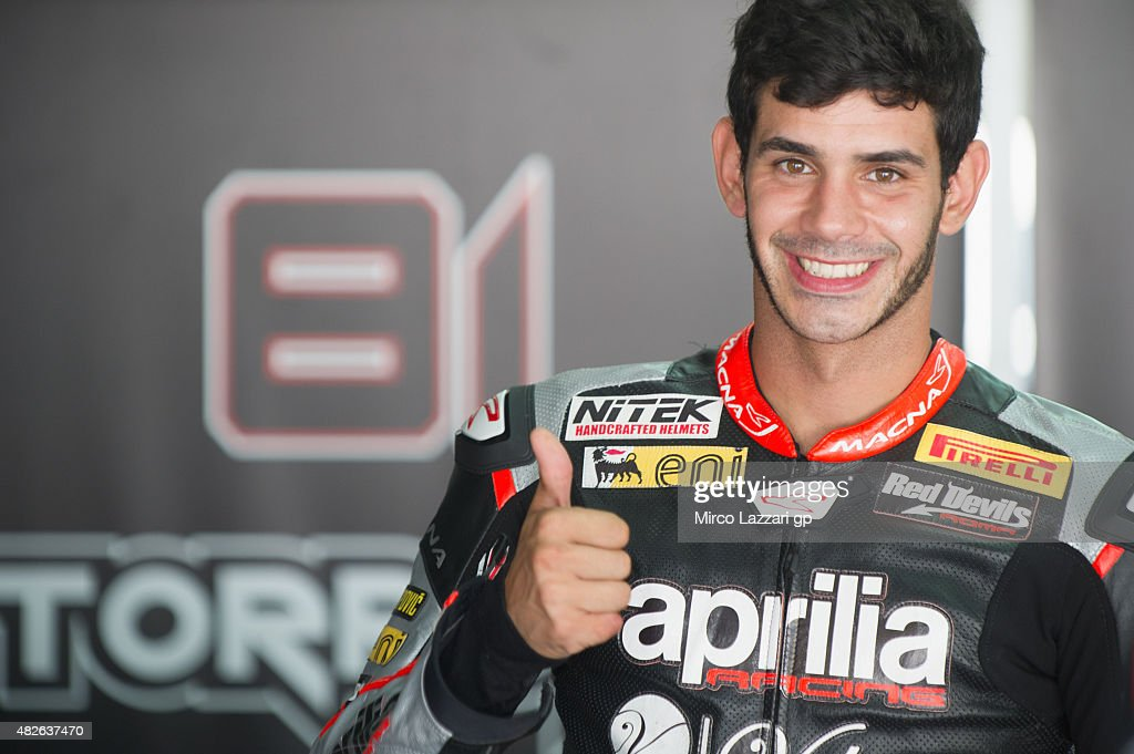 <a gi-track='captionPersonalityLinkClicked' href=/galleries/search?phrase=Jordi+Torres&family=editorial&specificpeople=7852325 ng-click='$event.stopPropagation()'>Jordi Torres</a> of Spain and APRILIA RACING TEAM - RED DEVILS smiles in box during the FIM Superbike World Championship - Qualifying at Sepang Circuit on August 1, 2015 in Kuala Lumpur, Malaysia.