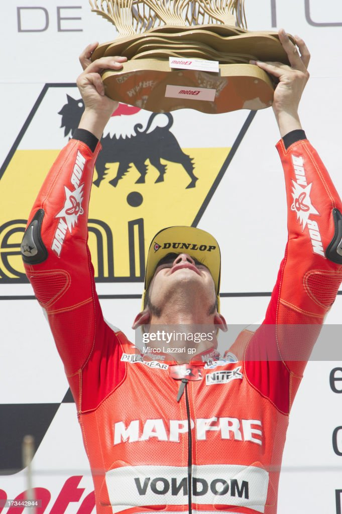 Jordi Torres of Spain and Aspar Team Moto2 celebrates on the podium the victory at the end of the Moto2 race during the MotoGp of Germany Race at...