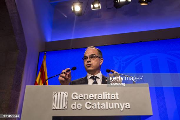 Jordi Turull Catalan government spokesman gestures as he speaks during a news conference in Barcelona Spain on Tuesday Oct 17 2017 The Spanish state...