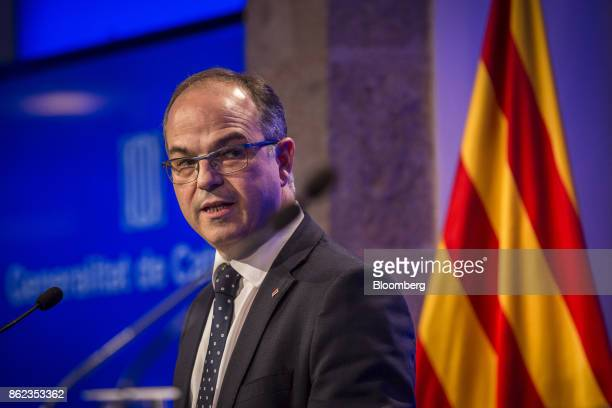 Jordi Turull Catalan government spokesman speaks during a news conference in Barcelona Spain on Tuesday Oct 17 2017 The Spanish state is turning up...