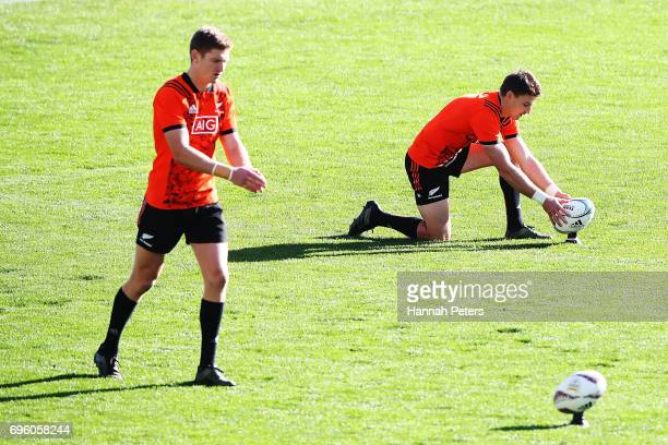Jordie Barrett and Beauden Barrett of the All Blacks run through kicking drills during a New Zealand All Blacks training session at Eden Park on June...