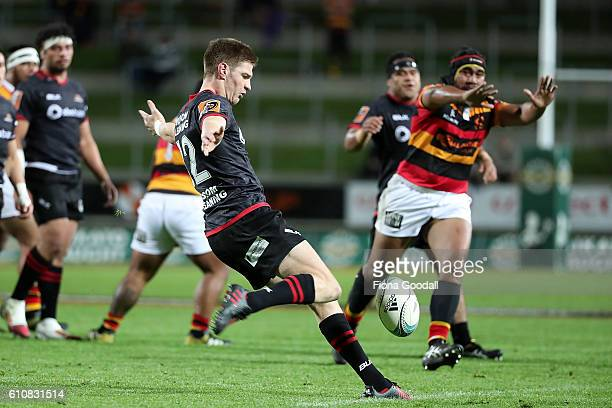 Jordie Barrett kicks the ball for Canterbury during the round seven Mitre 10 Cup match between Waikato and Canterbury on September 28 2016 in...
