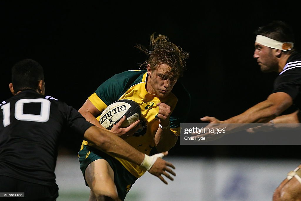 Jordie Barrett of Australia is tackled during the Under 20s Oceania Rugby match between Australia and New Zealand at Bond University on May 3, 2016 in Gold Coast, Australia.