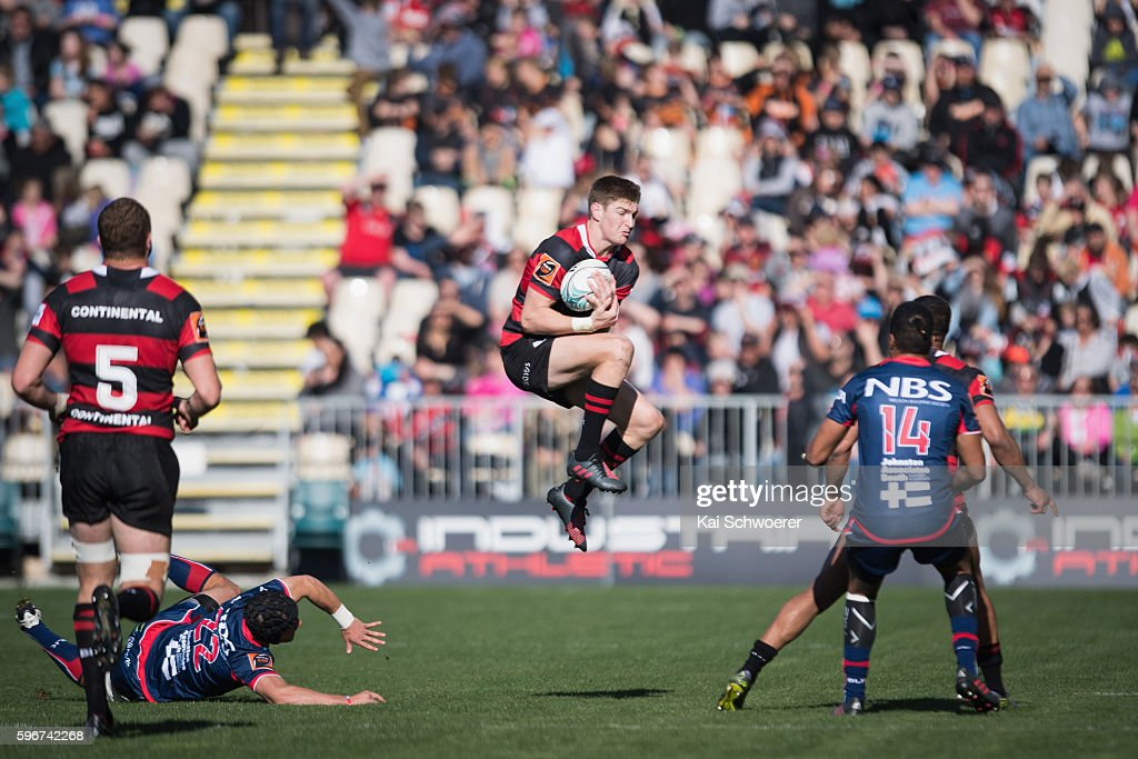 Jordie Barrett of Canterbury in action during the round two Mitre 10 Cup match between Canterbury and Tasman at AMI Stadium on August 28 2016 in...