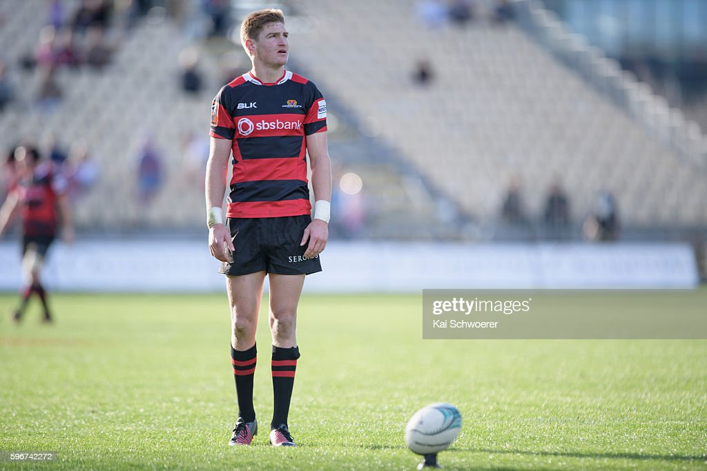 Jordie Barrett of Canterbury looks to kick a conversion during the round two Mitre 10 Cup match between Canterbury and Tasman at AMI Stadium on...