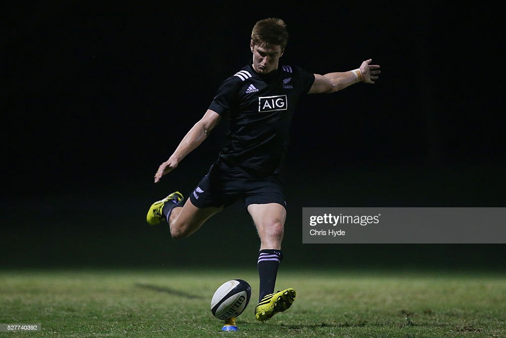 Jordie Barrett of New Zealand kicks during the Under 20s Oceania Rugby match between Australia and New Zealand at Bond University on May 3, 2016 in Gold Coast, Australia.