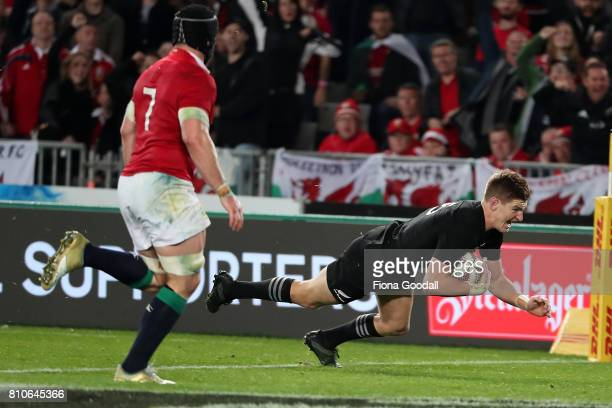 Jordie Barrett of the All Blacks scores a rty during the Test match between the New Zealand All Blacks and the British Irish Lions at Eden Park on...