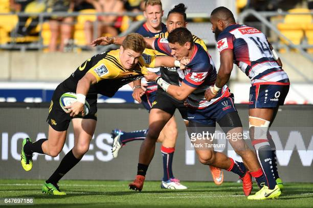Jordie Barrett of the Hurricanes during the round two Super Rugby match between the Hurricanes and the Rebels at Westpac Stadium on March 4 2017 in...