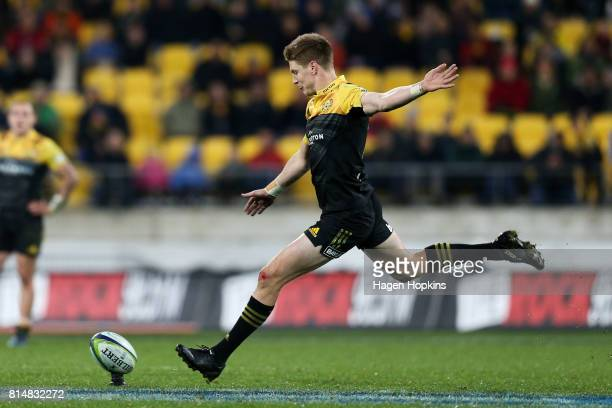 Jordie Barrett of the Hurricanes kicks during the round 17 Super Rugby match between the Hurricanes and the Crusaders at Westpac Stadium on July 15...