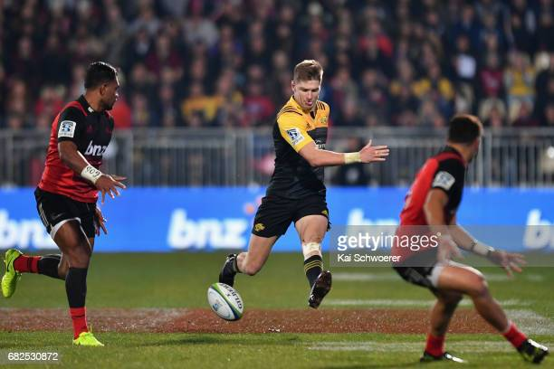 Jordie Barrett of the Hurricanes kicks the ball during the round 12 Super Rugby match between the Crusaders and the Hurricanes at AMI Stadium on May...