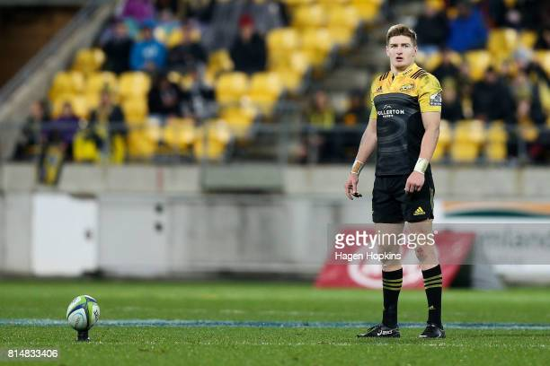 Jordie Barrett of the Hurricanes lines up a kick during the round 17 Super Rugby match between the Hurricanes and the Crusaders at Westpac Stadium on...