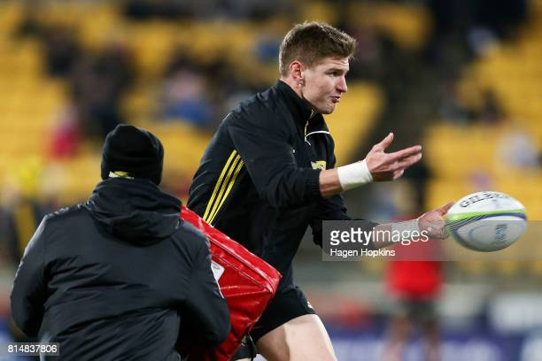 Jordie Barrett of the Hurricanes warms up during the round 17 Super Rugby match between the Hurricanes and the Crusaders at Westpac Stadium on July...