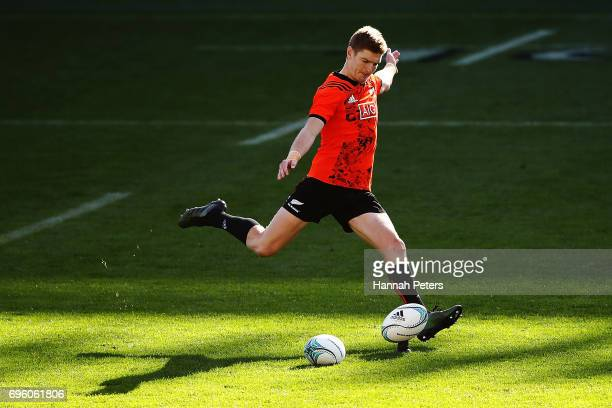 Jordie Barrett runs through kicking drills during a New Zealand All Blacks training session at Eden Park on June 15 2017 in Auckland New Zealand