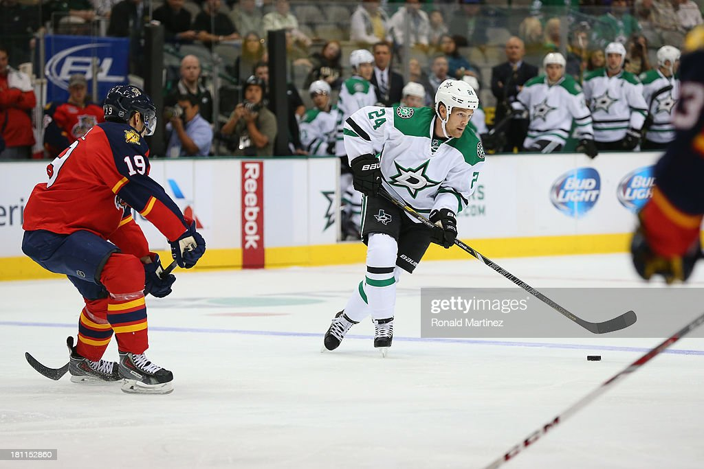 <a gi-track='captionPersonalityLinkClicked' href=/galleries/search?phrase=Jordie+Benn&family=editorial&specificpeople=5653062 ng-click='$event.stopPropagation()'>Jordie Benn</a> #24 of the Dallas Stars during a preseason game at American Airlines Center on September 18, 2013 in Dallas, Texas.