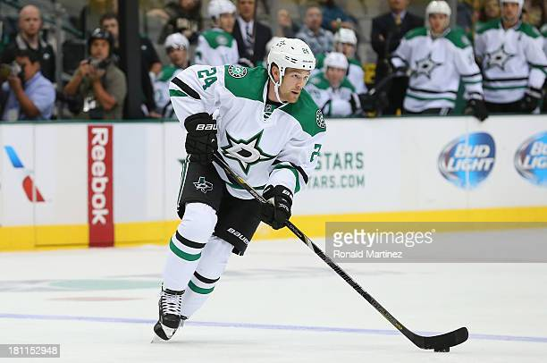 Jordie Benn of the Dallas Stars during a preseason game at American Airlines Center on September 18 2013 in Dallas Texas