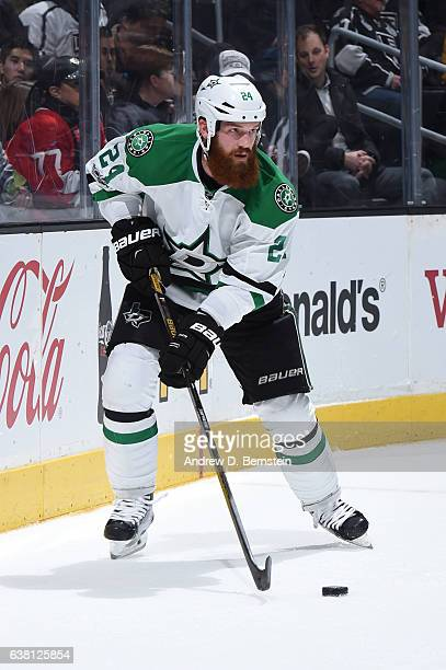 Jordie Benn of the Dallas Stars handles the puck during a game against the Los Angeles Kings at STAPLES Center on January 09 2017 in Los Angeles...