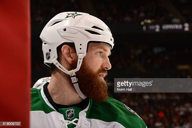 Jordie Benn of the Dallas Stars looks across the ice from the bench against the Arizona Coyotes at Gila River Arena on March 24 2016 in Glendale...