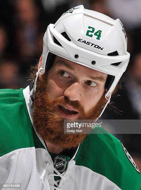 Jordie Benn of the Dallas Stars looks on during NHL game action against the Toronto Maple Leafs December 2 2014 at the Air Canada Centre in Toronto...