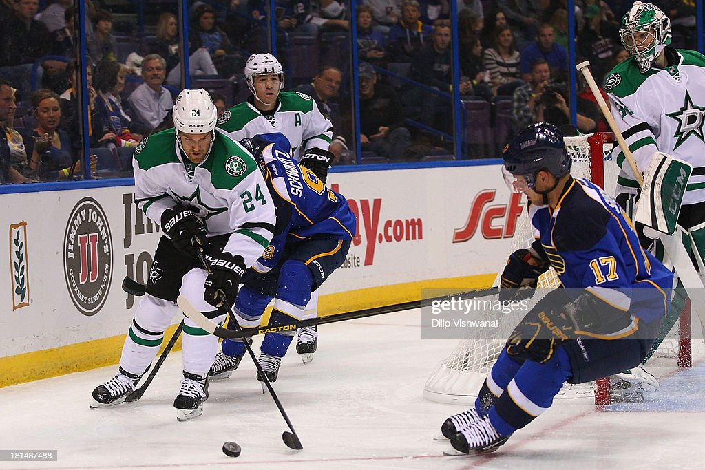Jordie Benn #24 of the Dallas Stars looks to control a loose puck against the St. Louis Blues during a preseason at the Scottrade Center on September 21, 2013 in St. Louis, Missouri.