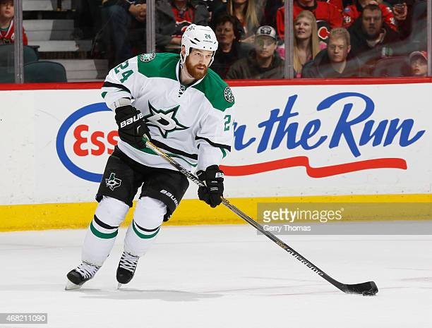 Jordie Benn of the Dallas Stars skates against the Calgary Flames at Scotiabank Saddledome on March 25 2015 in Calgary Alberta Canada