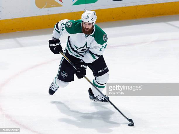 Jordie Benn of the Dallas Stars skates with the puck against the San Jose Sharks during a NHL game at the SAP Center at San Jose on January 16 2016...