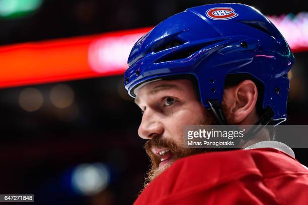 Jordie Benn of the Montreal Canadiens looks on during the warmup prior to the NHL game against the Nashville Predators at the Bell Centre on March 2...