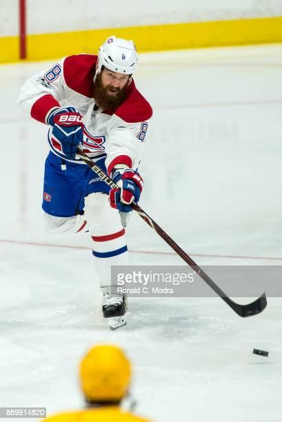 Jordie Benn of the Montreal Canadiens skates against the Nashville Predators during an NHL game at Bridgestone Arena on November 22 2017 in Nashville...