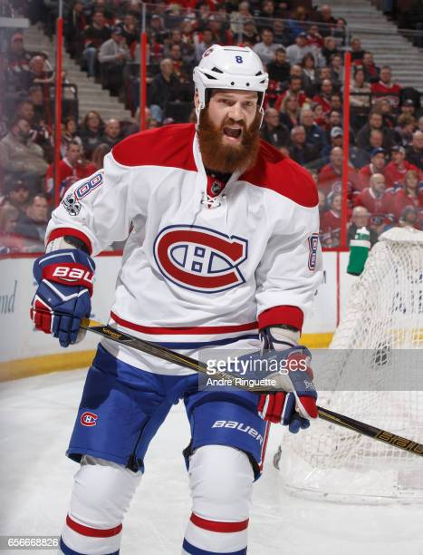 Jordie Benn of the Montreal Canadiens skates against the Ottawa Senators at Canadian Tire Centre on March 18 2017 in Ottawa Ontario Canada