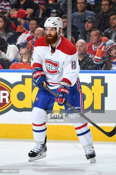 Jordie Benn of the Montreal Canadiens skates during the game against the Edmonton Oilers on March 12 2017 at Rogers Place in Edmonton Alberta Canada