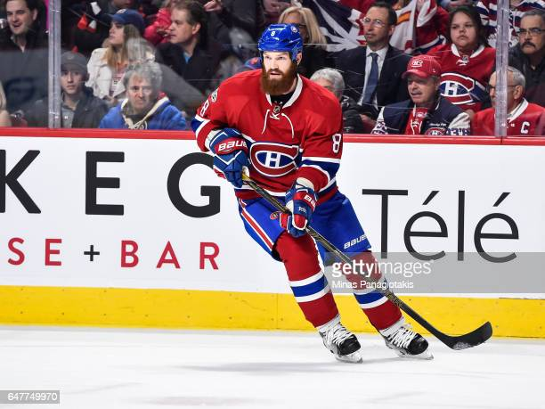 Jordie Benn of the Montreal Canadiens skates during the NHL game against the Nashville Predators at the Bell Centre on March 2 2017 in Montreal...