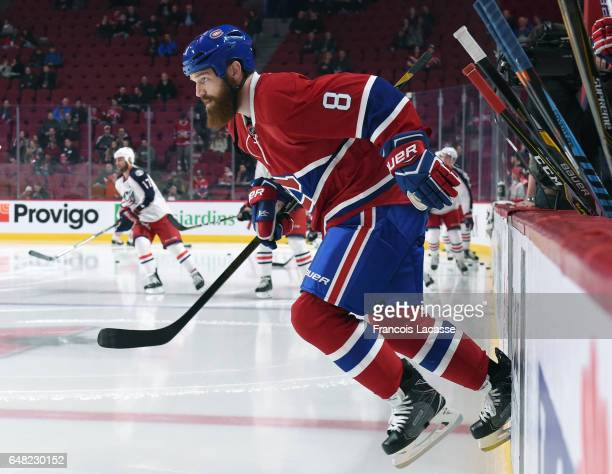 Jordie Benn of the Montreal Canadiens takes to the ice prior the NHL game against the Columbus Blue Jackets in the NHL game at the Bell Centre on...