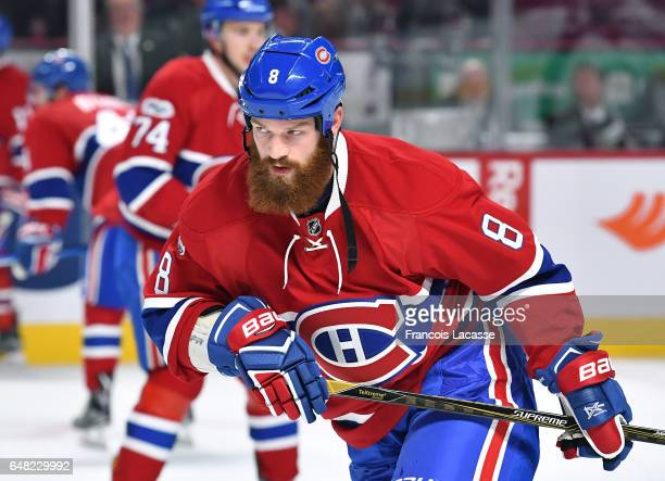Jordie Benn of the Montreal Canadiens warms up prior to the NHL game against the Columbus Blue Jackets at the Bell Centre on February 28 2017 in...