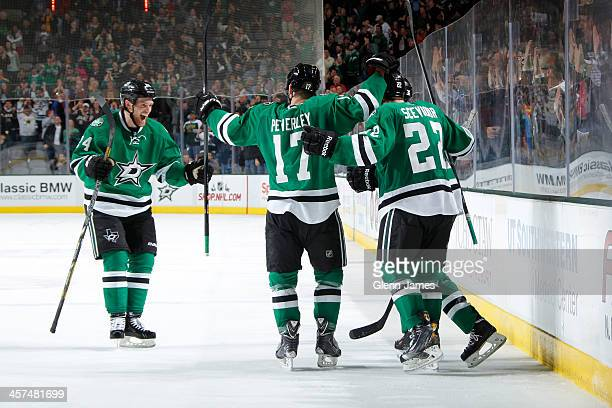 Jordie Benn Rich Peverley Colton Sceviour and the Dallas Stars celebrate a goal against the Colorado Avalanche at the American Airlines Center on...